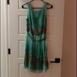 Dressbarn Teal Flowy Dress Sz 8
